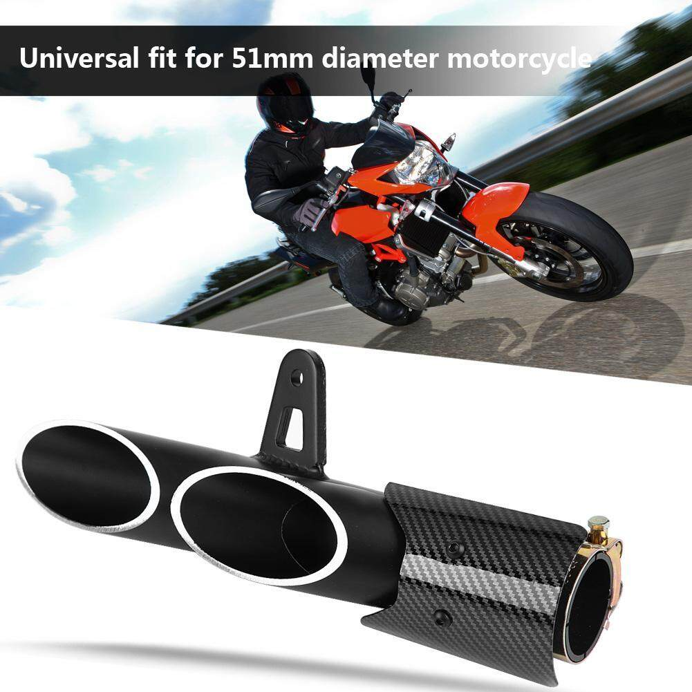 Tamaloha【clearance sale】Universal Glossy Black 51mm Motorcycle Slip on  Exhaust Muffler Rear Pipe Tailpipe