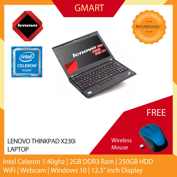 Lenovo Thinkpad x230i Laptop / 12.5 inch LCD / Intel Celeron / 2GB DDR3 Ram / 250GB HDD / WiFi / Windows 10 Pro / Webcam Malaysia