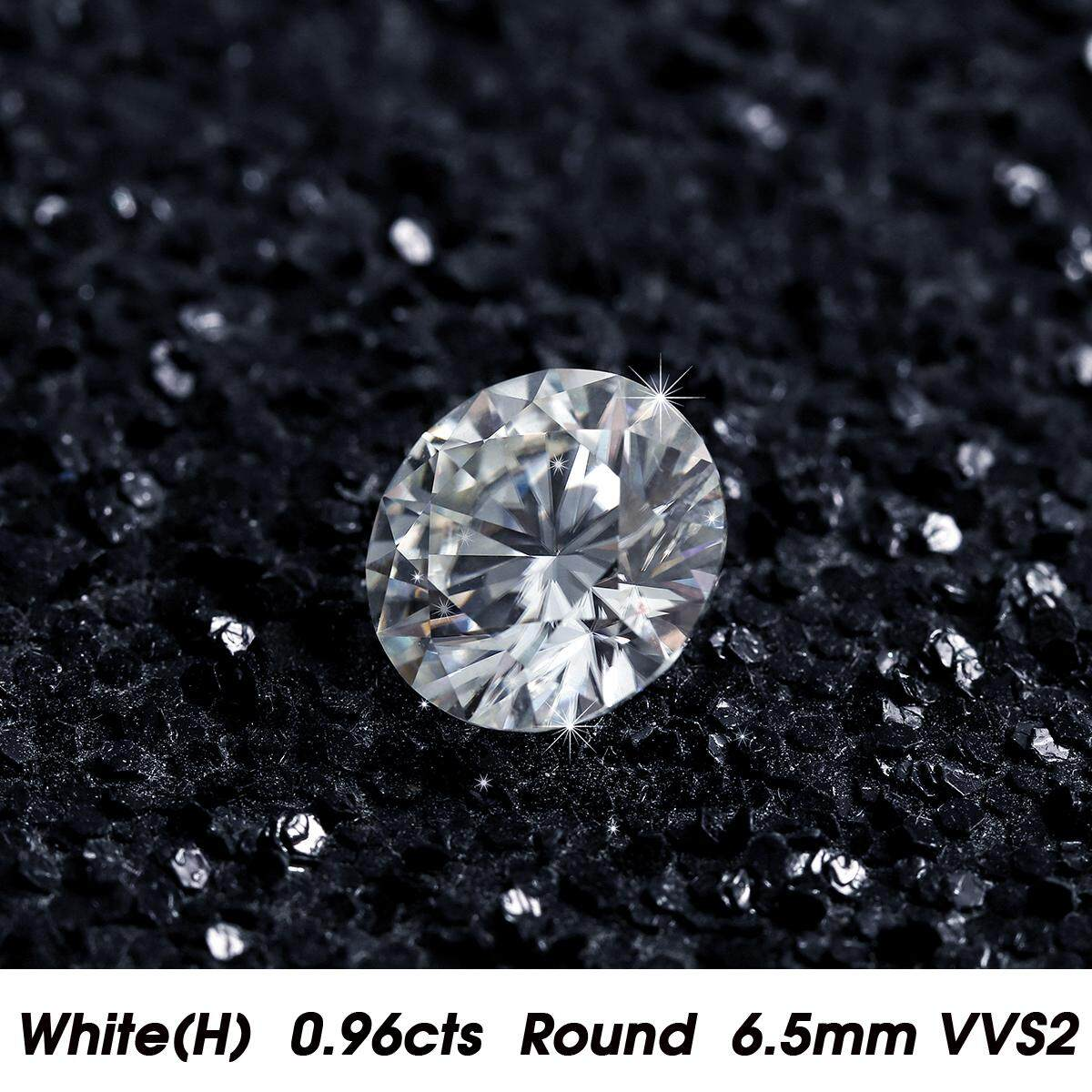 Berlian Putih H Warna 0.96cts 6.5 Mm Round Bentuk Vvs2 Kejelasan Longgar Bersertifikat Moissanite By Wings Wind.
