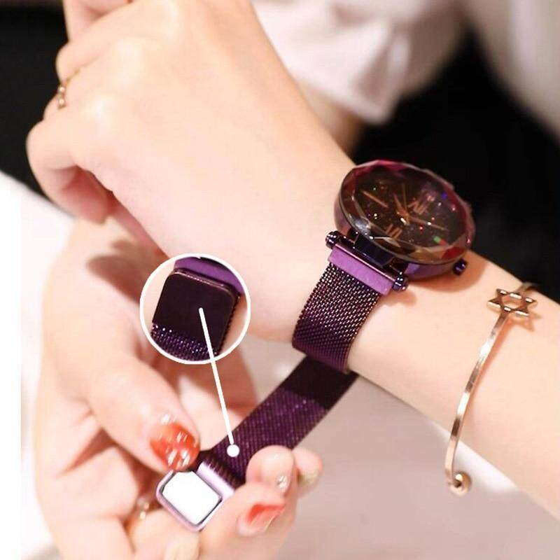Watch for Women Starry Sky Rosy Gold Quartz Watch Women Mesh Magnet Casual Watches Ladies Wrist Watches Purple Malaysia