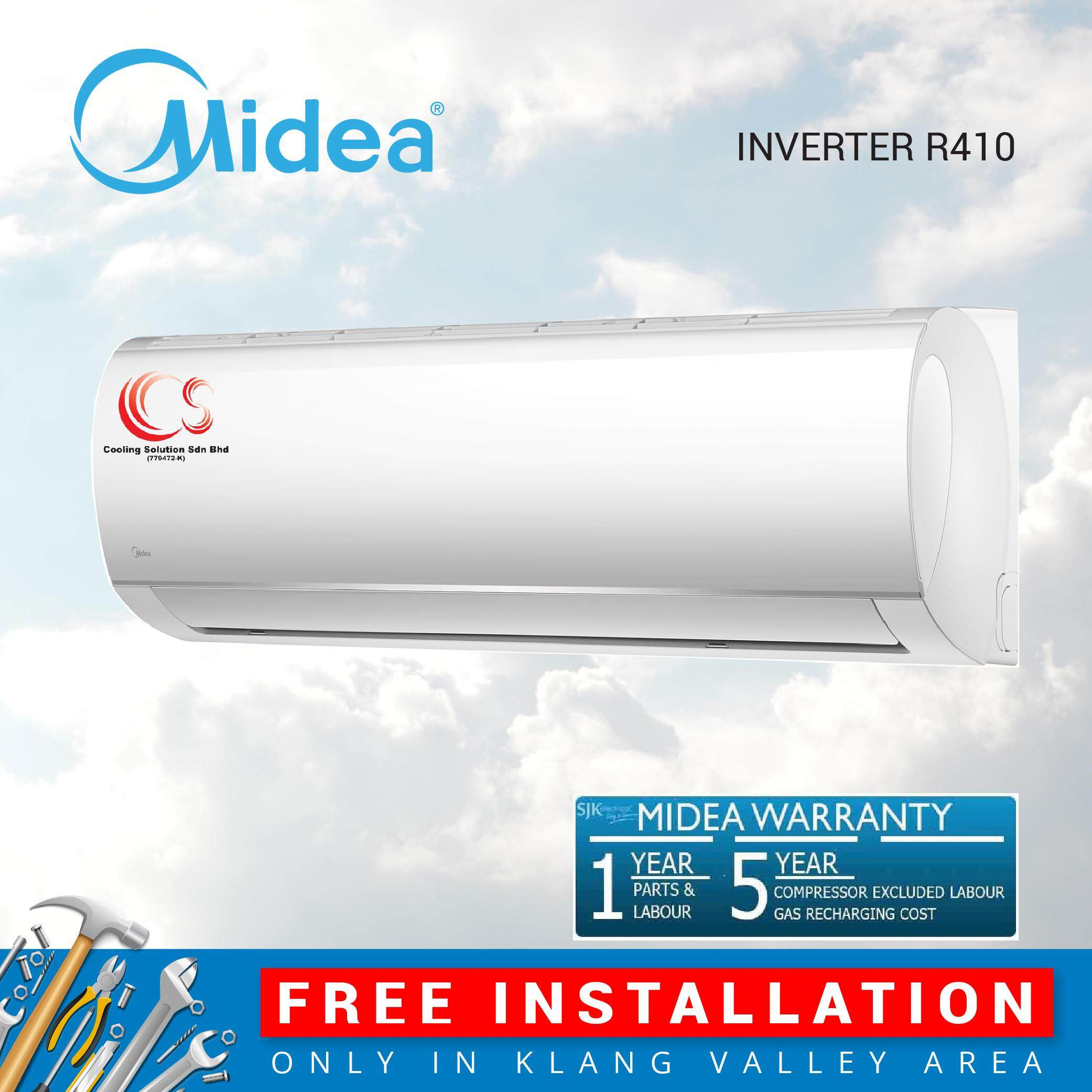 Free Installation Midea Air Conditioner Blanc Series Inverter Wall Mounted 2.5 Hp R410A MSMA-22CRDN1_FI