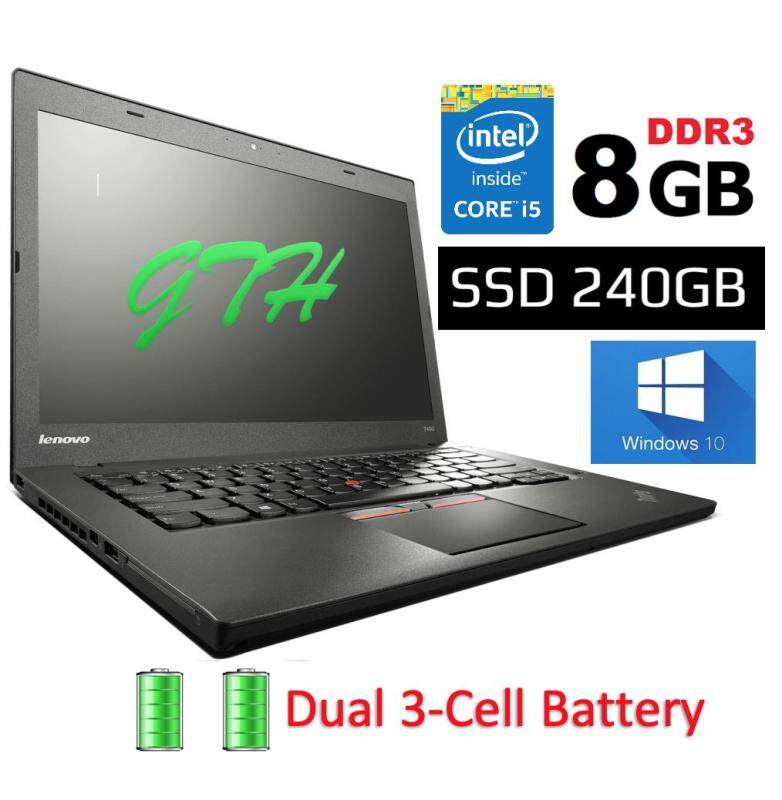 Refurbished Lenovo Thinkpad T450 Dual Battery (i5 5th Gen 2.3Ghz / 8GB RAM / 240GB SSD /Win 8 Pro COA / WIn 10 Pro / Bag )(3 Month Warranty for Laptop & 1 Month Warranty for Battery and Adaptor) Used Laptop Notebook Malaysia
