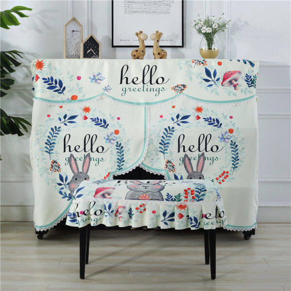 2020-newKorean printing cloth cartoon piano piano cover half cover dust-proof yamaha cloth art turnkey piano stool set cover Malaysia
