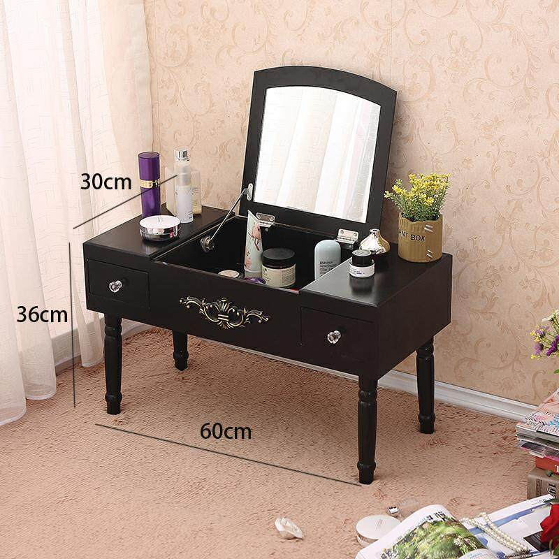 Vanity Table Set with Foldable Mirror, 2 Drawers, 1 Organizers Makeup Dressing Table, Easy Assembly, Gift for Mom