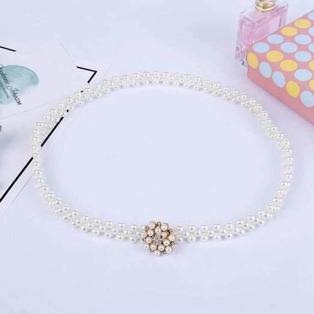 Elegant Women Pearl Belt Waist Belt Elastic Buckle Pearl Chain Belt Female Girls Dress Crystal Strap