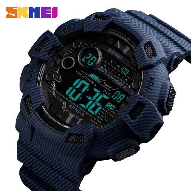 SKMEI fashion sports watch mens alarm clock denim diving week show mens watch denim multi-function digital watch relogio masculino Malaysia