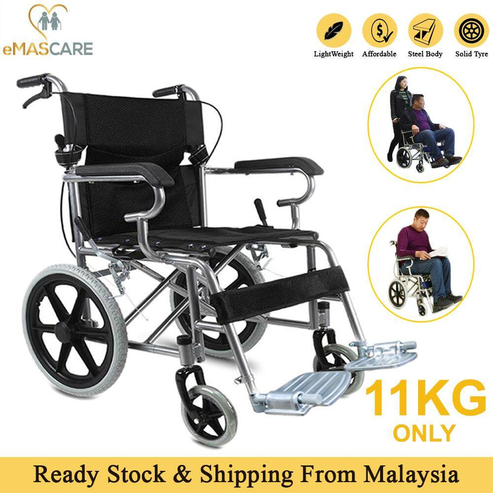 [emascare] Portable Foldable Travel Wheel Chair Ultra Light Weight Durable Small Size Wheelchair Kerusi Roda Ringan Lipat By Emascare.