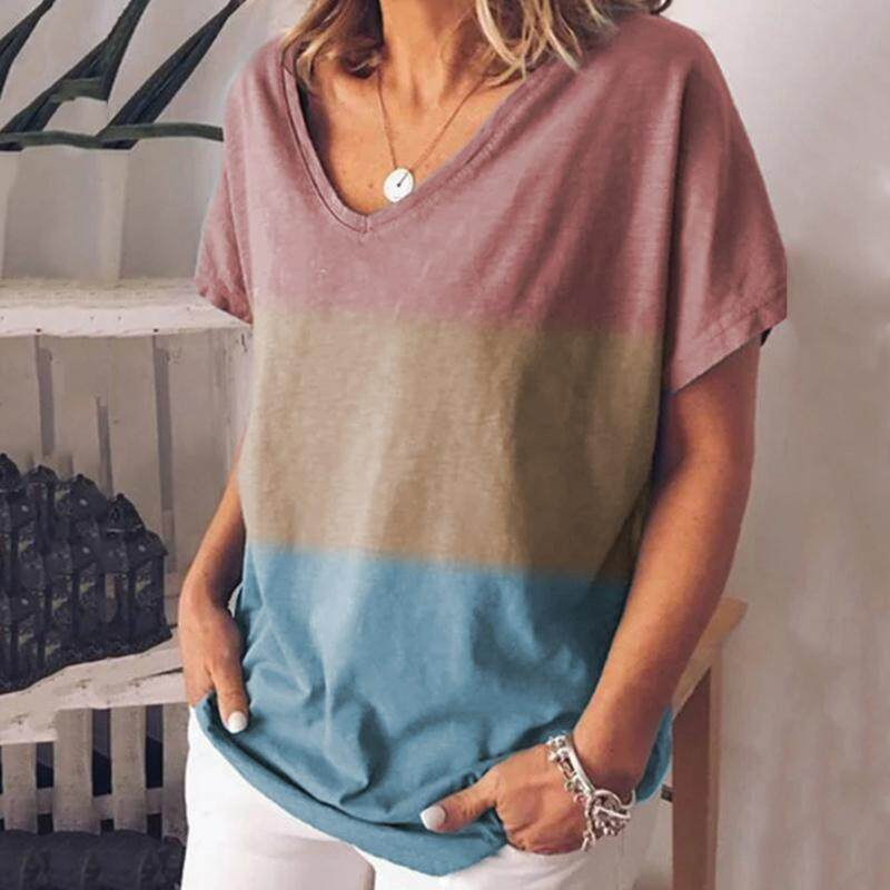 Women Summer Loose Casual Tops Ladies Short Sleeve Printed Blouse T Shirt M~2XL