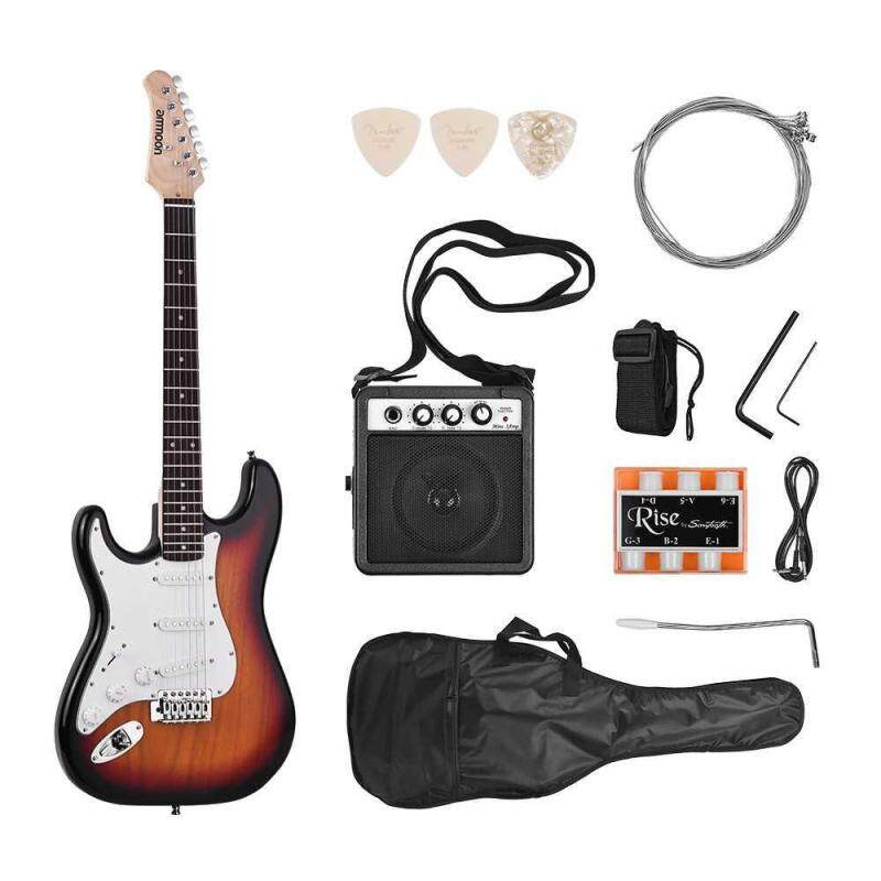 ammoon Electric Guitar Solid Wood Paulownia Body Maple Neck 21 Frets 6 String with Speaker Pitch Pipe Guitar Bag Strap Picks Left Hand Malaysia