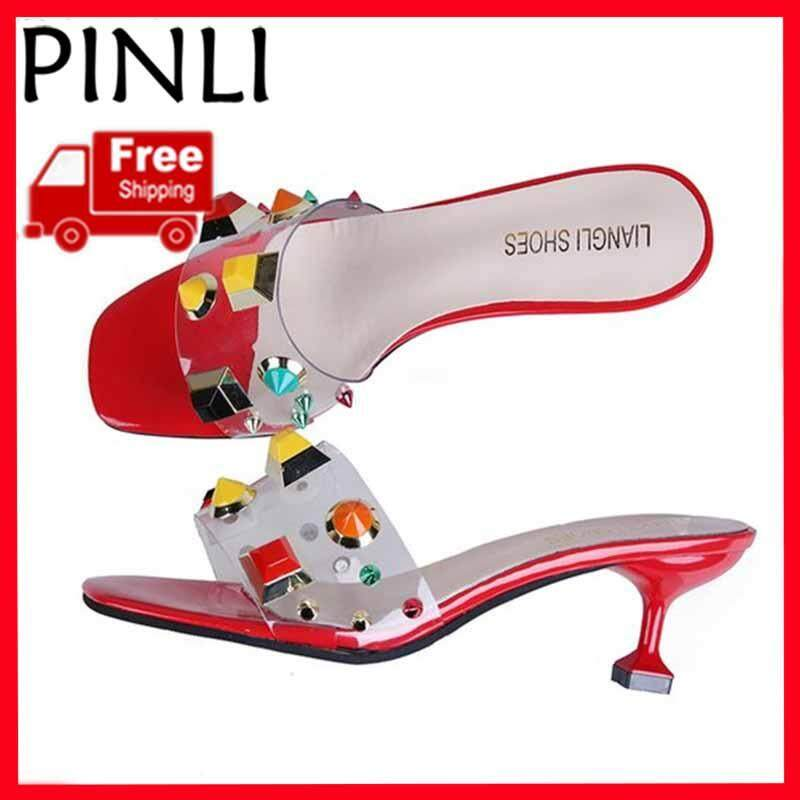 25322a1eb5f8 PINLI  Free Shipping  Women Jelly High-heeled Sandals And Slippers Flat-tip