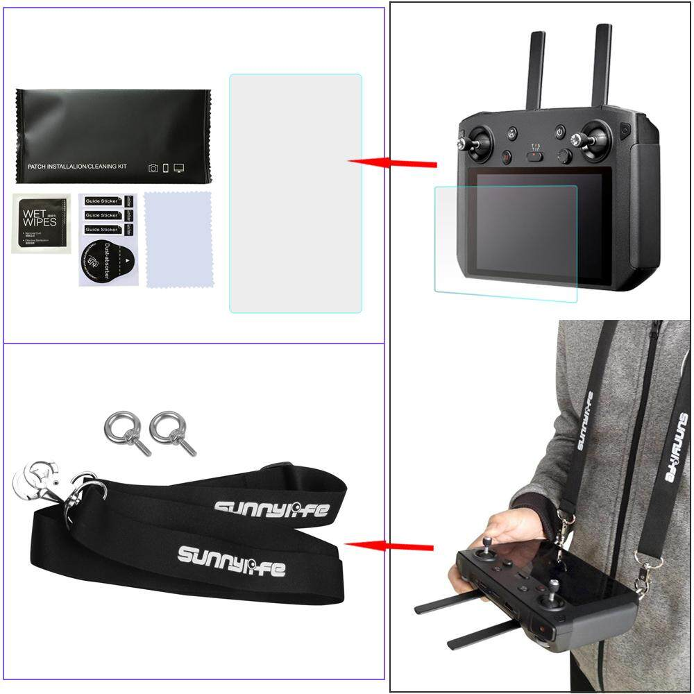 2 in 1 Accessories Kits for DJI Mavic 2 Pro & Zoom Smart Remote Controller Lanyard Neck Strap With Screen Protective Film Tempered Glass Singapore