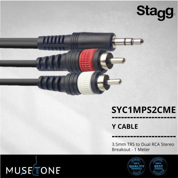 Stagg SYC1/MPS2CME 3.5mm TRS to Dual RCA Stereo Breakout - 1 Meter Black SYC1MPS2CME Malaysia