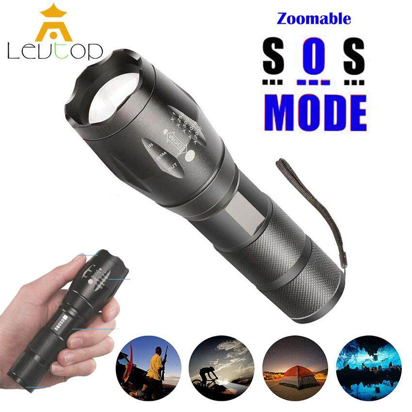 LEVTOP LED Tactical Flashlight 2000 Lumens T6 Portable Ultra Bright Outdoor Water Resistant Torch Light Zoomable Flashlight with 5 Light Modes