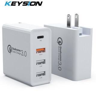 Khóa Phím Bộ Sạc Nhanh 4 Cổng 48W Bộ Sạc USB PD Type C Sạc Tường Nhanh Cho Máy Tính Bảng Samsung iPhone QC 3.0 Bộ Chuyển Đổi Phích Cắm Chuẩn Mỹ EU UK thumbnail