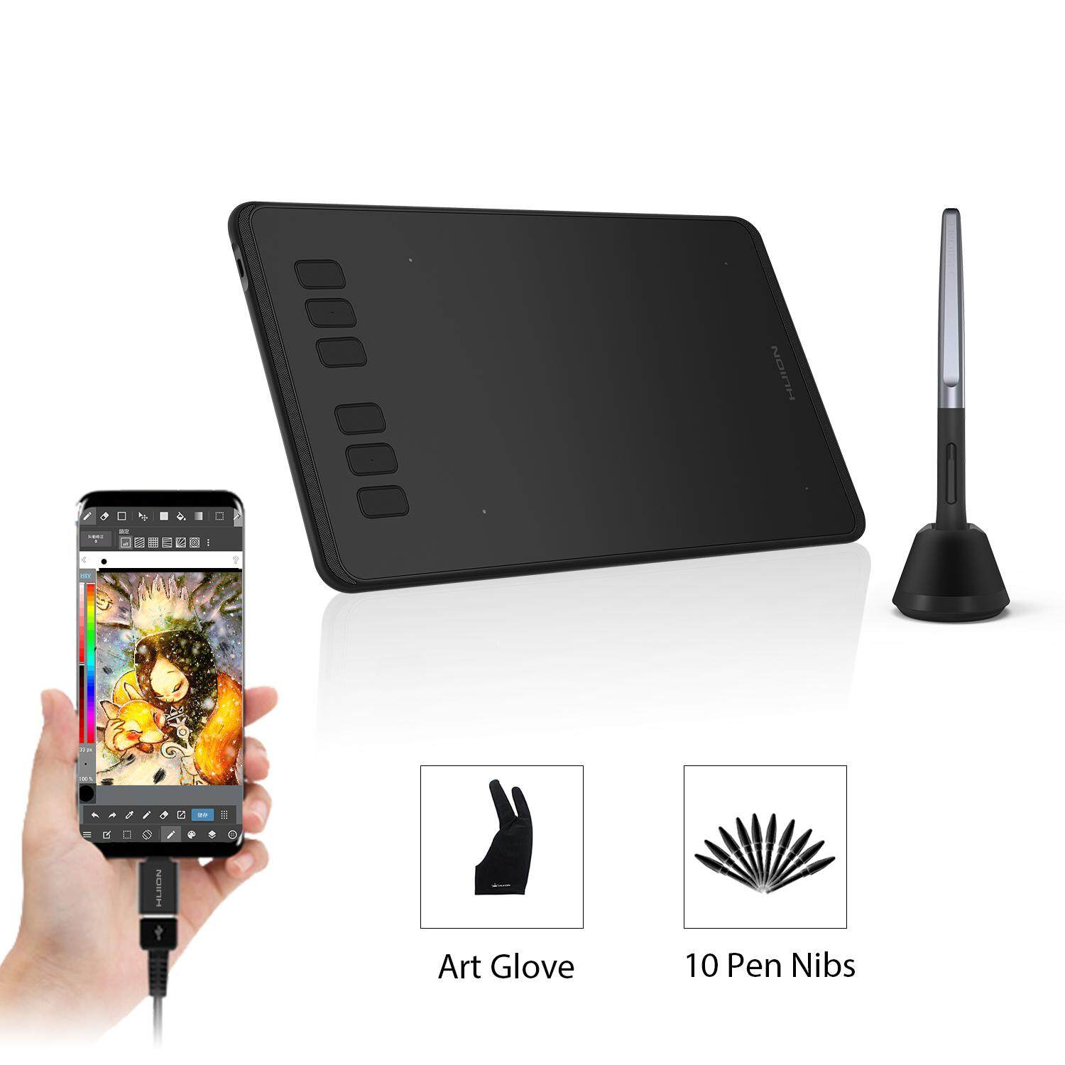 Huion H640P Graphics Drawing Tablet with 6 Shortcut Keys, Battery-Free  Stylus, 8192 Pressure Sensitivity, Compatible with Mac, PC or Android Mobile