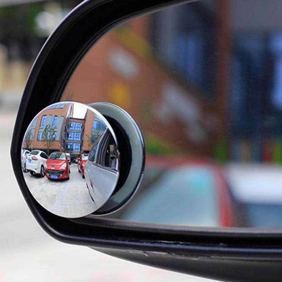 2pcs Car Rearview Convex Mirror Parking Safety 360 Degree Rotable Rimless  Universal Wide Angle Round Blind Spot Mirror Silver