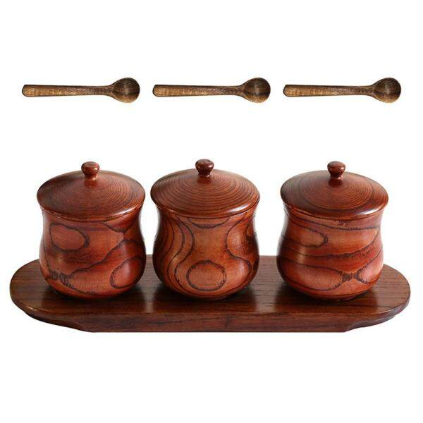 Simple Solid Wooden Spice Jar Cruet Moisture Proof Spice Condiment Jar Household Kitchen Accessory