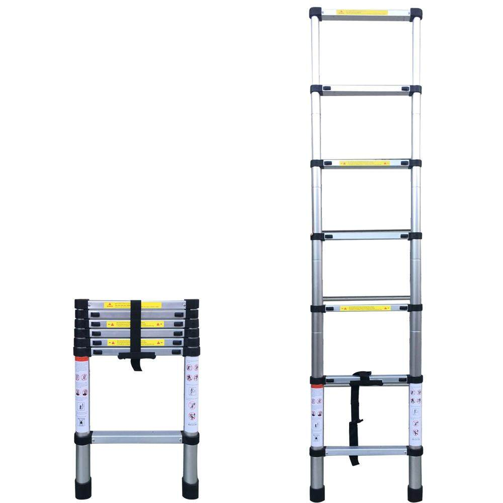 6.56FT(2m) Household Foldable Aluminium Alloy Ladder 7Steps Extension Ladders Telescopic Extendable 150kg Bear Weight with Locking Mechanisms Safety Space Saving Easy Installing