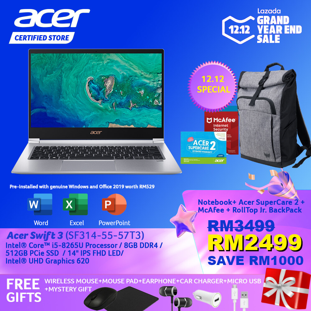 [12.12 Crazy Brand Mega Offers]Acer Swift 3 SF314-55-57T3 Notebook NX.H3WSM.003 Sparkly Silver/ i5-8265U/8GB/Intel Graphics/512GB PCIe SSD/14-Inch Slim Bezel IPS FHD LED /W10/ Pre-Installed Office 2019+Free Premium Gifts Malaysia