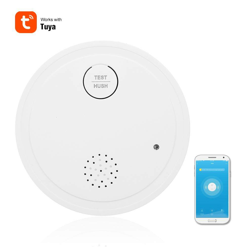 Intelligent WiFi Strobe Smoke Detector Wireless Fire Alarm Sensor Support 433MHZ Work with Tuya APP Control Office Home Smoke Alarm System Device LED Light Indicator Low Power Consumption