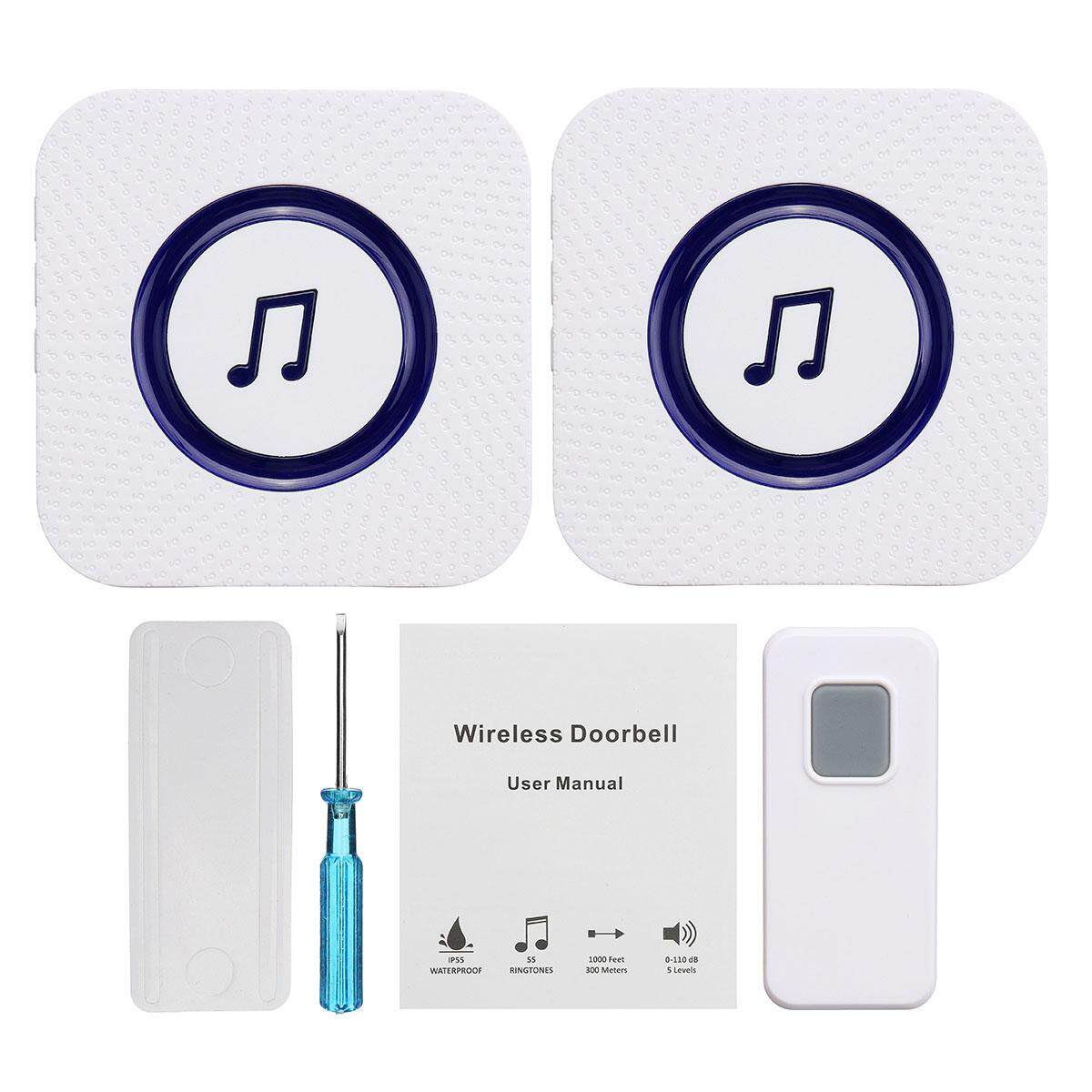 【Free Shipping + Flash Deal 】110V-260V Wireless Chime Door Bell Waterproof  2 Receivers 55 Ringtone 300M Range
