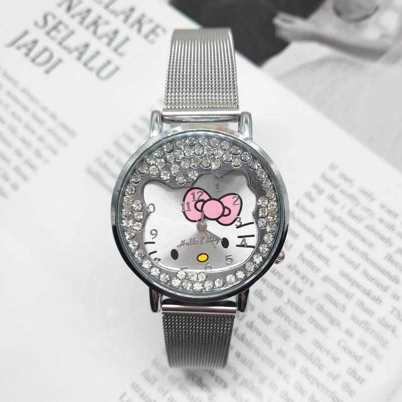 Hello Kitty ดูการ์ตูนเด็กๆสำหรับเด็กสแตนเลสแฟชั่นสายคล้องนาฬิกาข้อมือสำหรับหญิง By Daming.