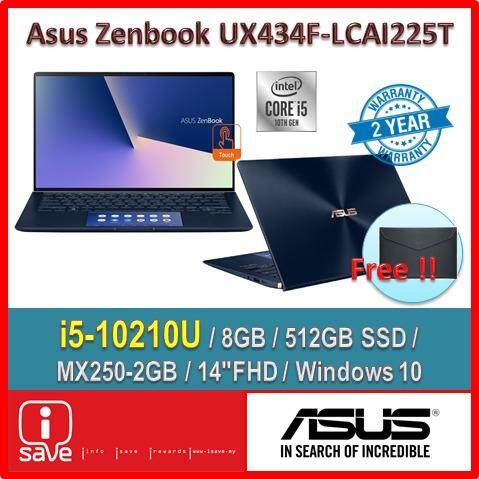 ASUS Laptop Zenbook 14 UX434F-LCAI225T 14  FHD Touch Royal Blue ( I5-10210U, 8GB, 512GB, MX250 2GB, W10 ) Malaysia