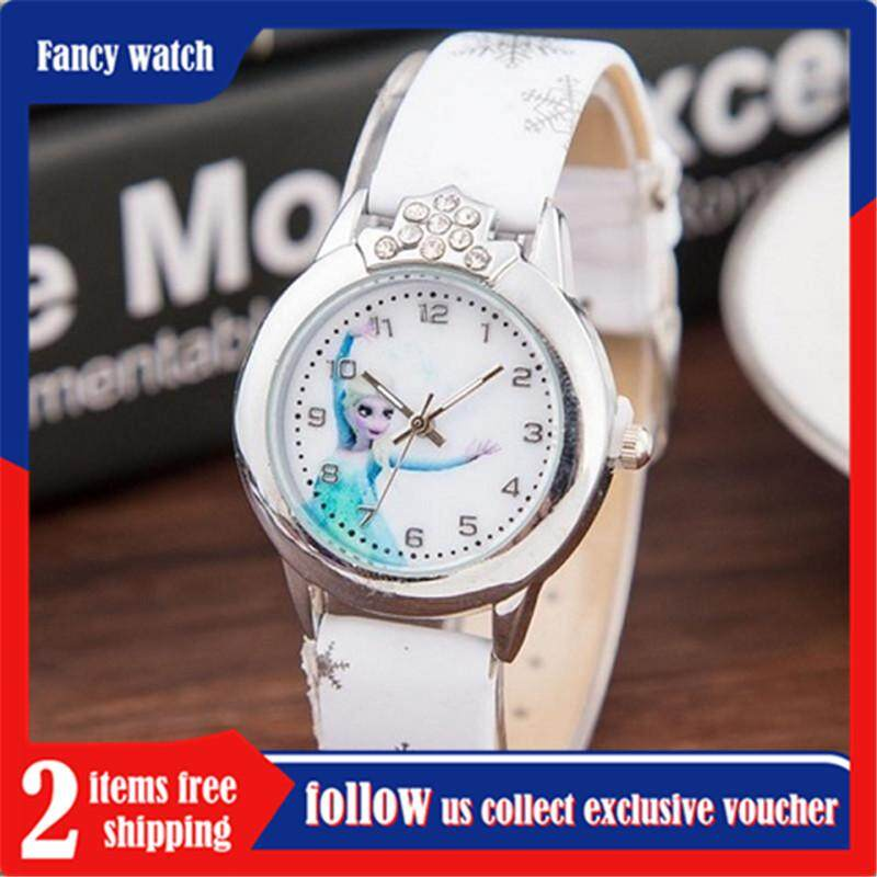 【5 star feedback with product show chat us collect a voucher of half price】YB1154 Princess ,Elsa Pattern Children Watch Fashion Crystal Cartoon Leather Strap Quartz Wristwatch Casual Girls Kids Clock FWKI 01 Malaysia