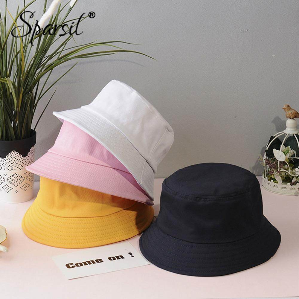 af55721b8 Sparsil Summer Foldable Bucket Hat Women Outdoor Sunscreen Cotton Fishing  Cap Men Basin Chapeau Sun Prevent Hats