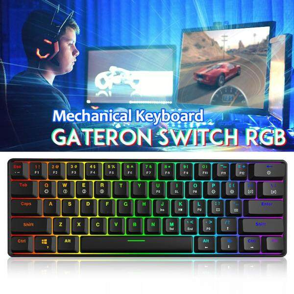 Geek GK61 60% 61Keys Gateron Optical Axis RGB Mechanical Keyboard Type-c Programmable Gaming - Red/Blue/Black/Brown Switch Malaysia