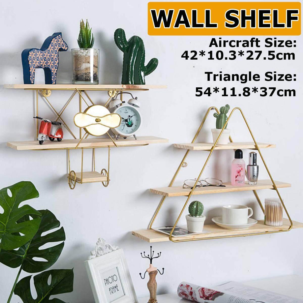 【Free Shipping + Flash Deal】Iron+Wood Floating Wall Hanging Shelve Storage Shelf Rack Bookcase Display Decor