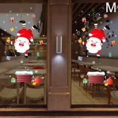 1 Miếng Dán Kính Cửa Sổ Trang Trí Giáng Sinh Hình Nai Sừng Tấm Miếng Dán Tường Ông Già Noel, Đồ Dùng Gia Đình Người Tuyết Có Thể Tháo Rời