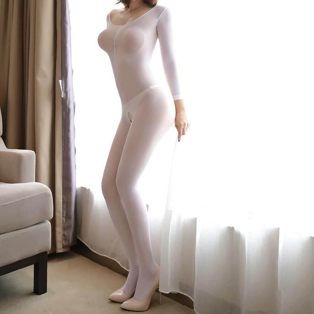 Fang Fang Thời Trang Nữ Crotchless Bodystocking Trong Suốt Dài tay Dây Đeo Quần Vớ