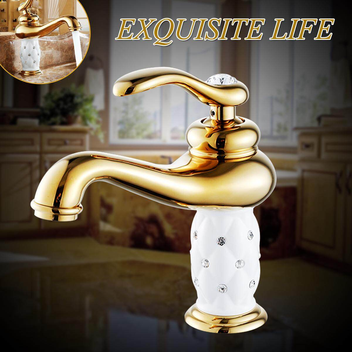 Gold Basin Faucets Brass with Diamond Bathroom Faucet Mixer Tap Single Handle