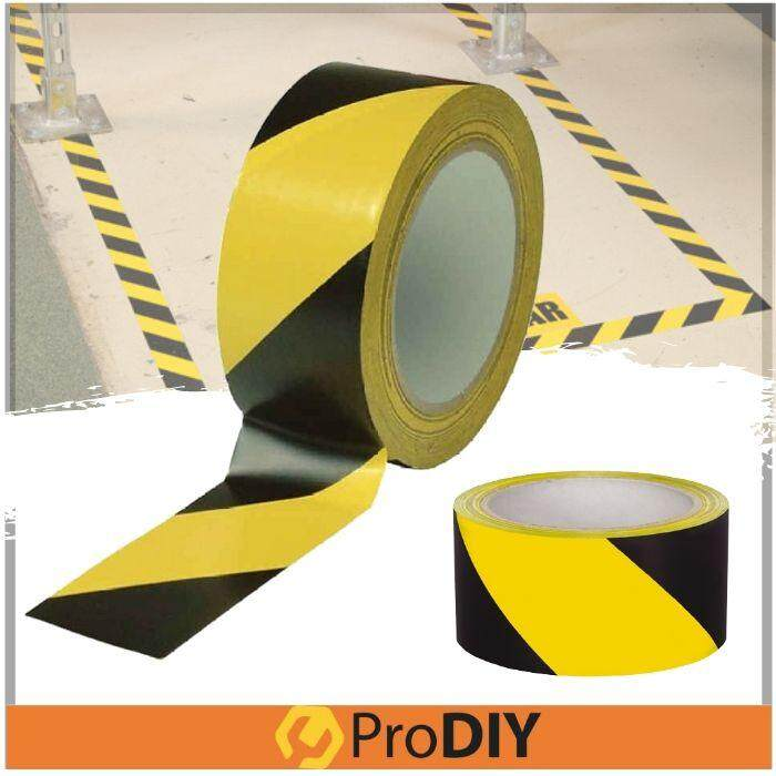 Floor Tape 48mm x 17m Floor Safety Caution Warning Tape PVC Floor Marking Tape Black Yellow