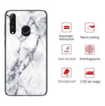 สำหรับ Huawei Y9 PRIME 2019 เข้ารูปพอดีรูปแบบหินอ่อนกระจกเทมเปอร์ Hard Anti-Scratch เคสหลังนุ่มกรอบกันกระแทก TPU เต็มรูปแบบการดูดซับแรงกระแทก Anti -Fingerprints COVER