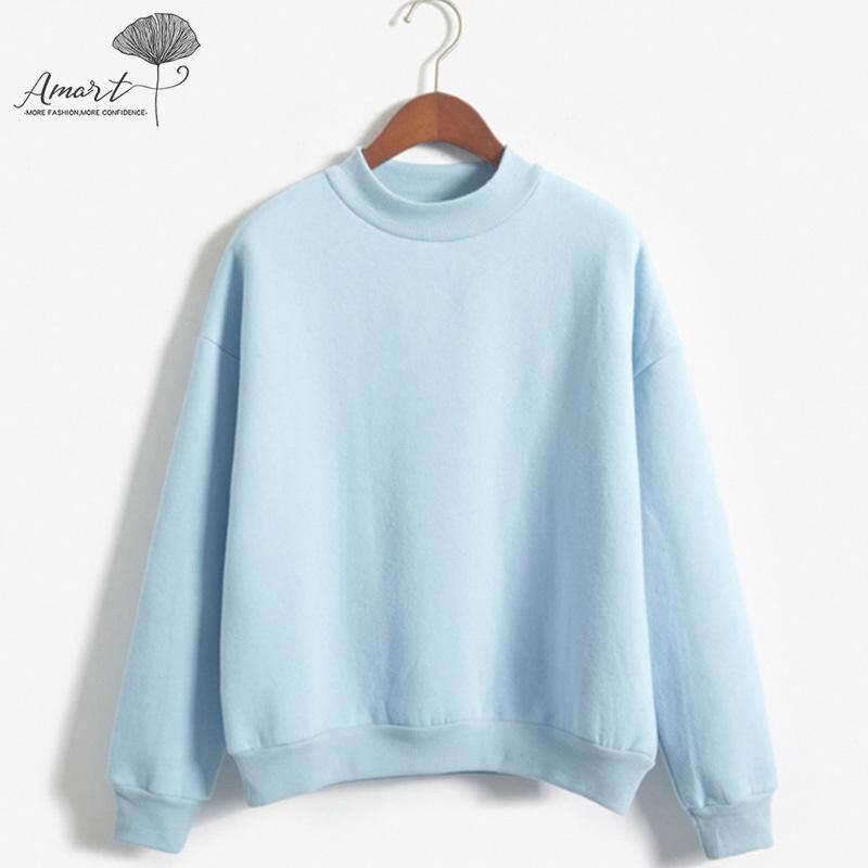 Amart Fashion Wanita Sweater Musim Semi Leher Bulat Pullover Lengan Panjang Minimalis Tebal Atasan Wanita