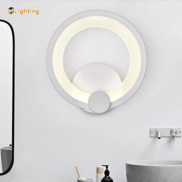 Simple Modern Wall Light LED Metal+Acrylic Ring Wall Sconce Diameter 19cm Indoor Lighting Wall Lamp For Hallway Bedroom Bathroom
