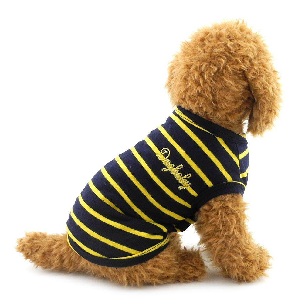 Classic Stripes Cotton Vest Shirt For Small Dogs Doggy Tank Tee Puppy Summer Clothes Yellow And Black.