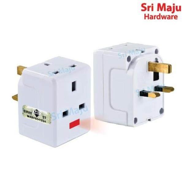 ஐ  MAJU Quality 3 Way Adaptor Malaysia Sirim Fused 250V 13A UK 3 Pin Adapter Electrical Socket Plug Top Hotel Neon