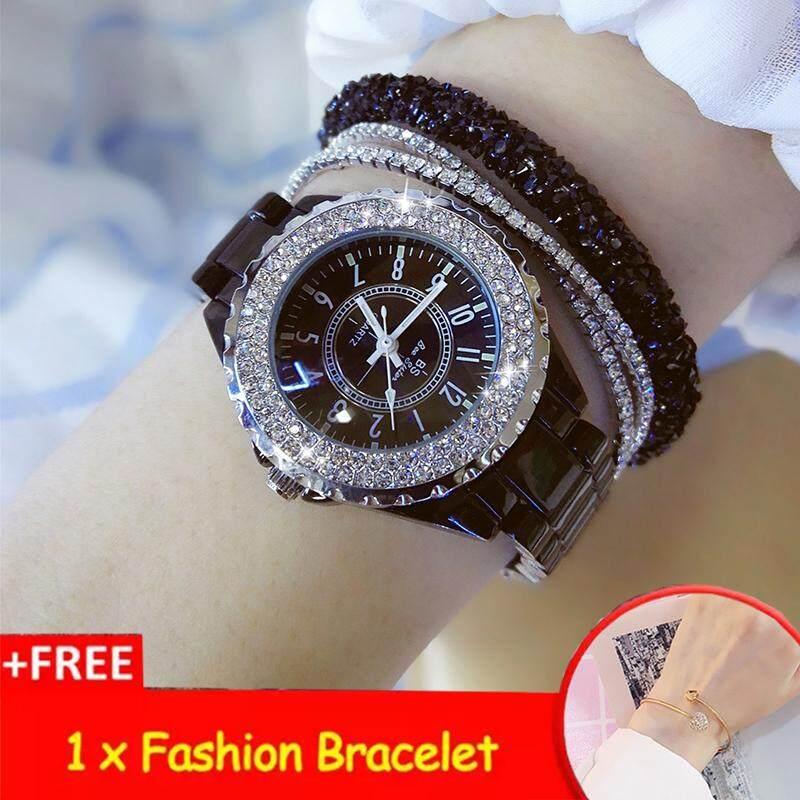 [แถมสร้อยข้อมือฟรี] Bs Bee Sister มาใหม่ล่าสุดโรงงานโดยตรงแฟชั่นผู้หญิงนาฬิกา Casual เซรามิคกรณีโลหะผสมนาฬิกาควอตซ์กันน้ำเพชรหรูหราออสเตรีย Rhinestone หรูหราสุภาพสตรีนาฬิกาข้อมือ + สร้อยข้อมือฟรี [ซื้อ 1 แถม 1 ฟรี].