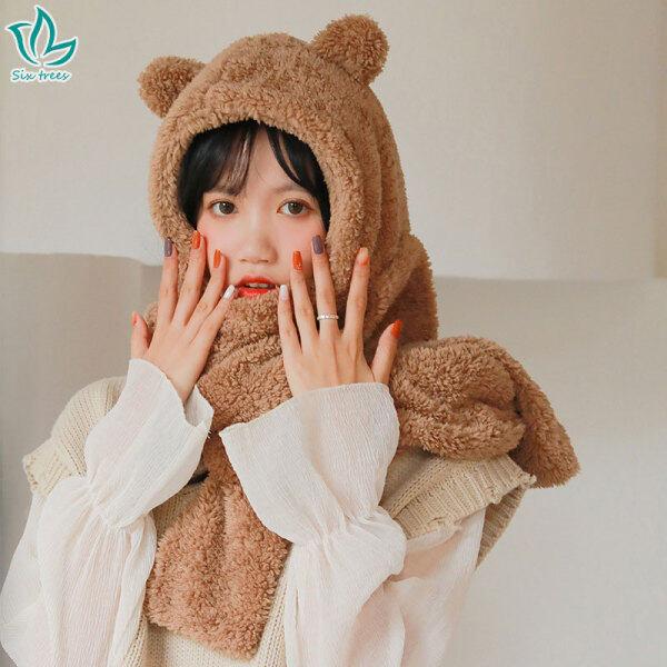STF Mũ Và Khăn Quàng Cổ Nữ Hàn Quốc Dày Mũ Khăn Choàng Ấm Áp Sang Trọng Len Cừu Tai Gấu