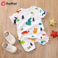 Bộ áo liền quần tay ngắn PatPat họa tiết hình khủng long dễ thương dành cho bé trai từ 0-18 tháng tuổi-Z – INTL