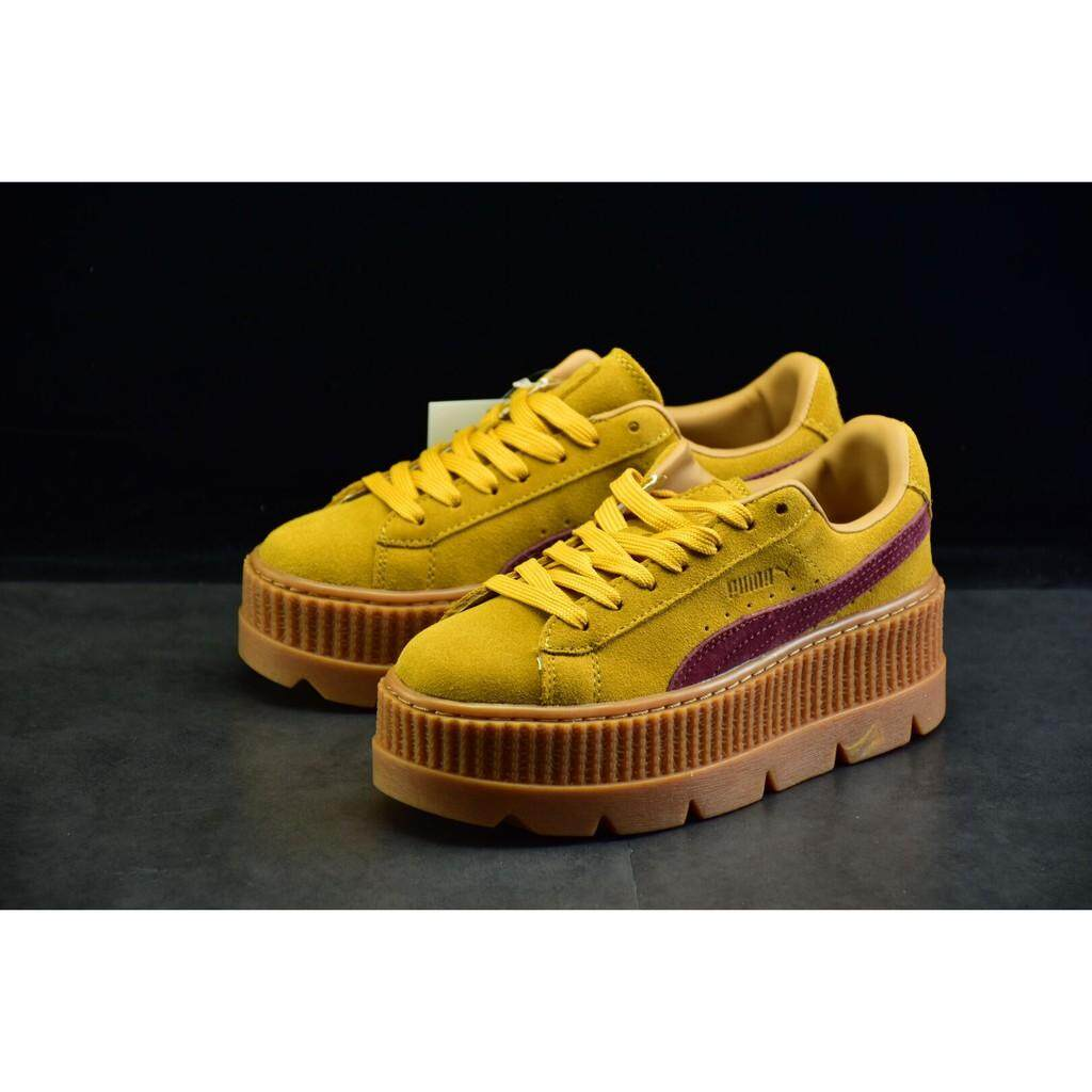 f0d3352e3a7f Brand new arrive Pumas rihanna basket suede yellow red women flat sport  skateboard shoe