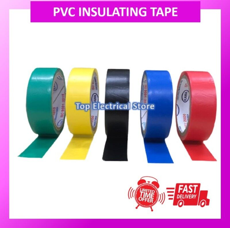 PVC INSULATING TAPE WIRE TAPE KAWA ELECTRICAL WIRE TAPE 5M YELLOW/BLUE/GREEN/RED/BLACK 18MM STRONG ADHESIVE