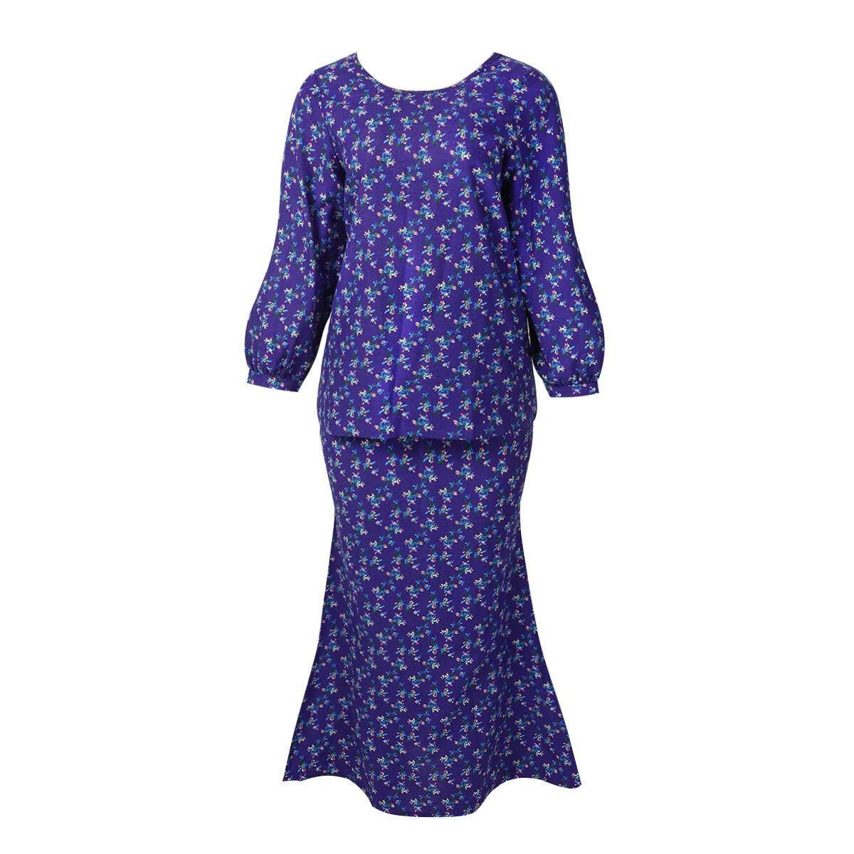 The Lowest Price For Laz 2019 Brand New Matwsec Modern Dress Muslim Set Baju Plus Size Blue Linen Kebaya Women Raya Fashion Exclusive Cotton