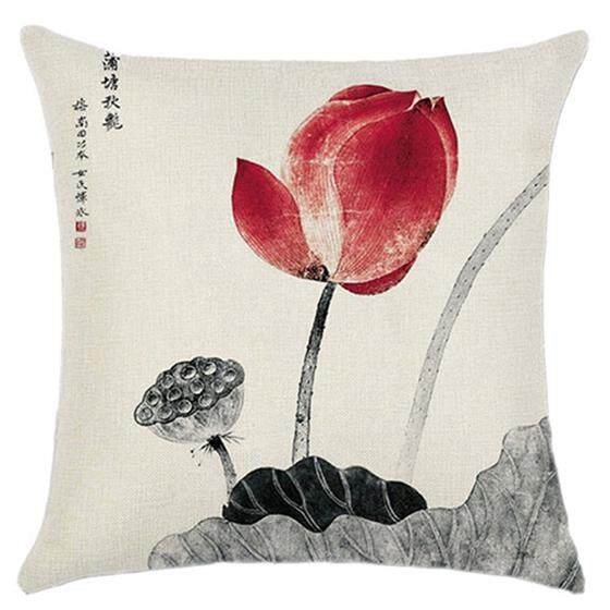 Retro Chinese Ink Painting Lotus And Lotus Pattern Cushions Sets Of Sofa Pillow Sets Black + Red By Rainning.