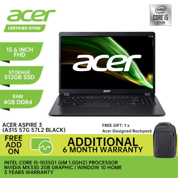 Acer Aspire 3 A315-57G-57L2 15.6 FHD Laptop Obsidian Black ( i5-1035G1, 4GB, 512GB SSD, MX330 2GB, W10 ) Malaysia