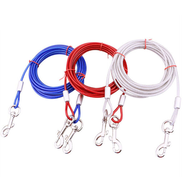 3M Dây Thép Dây Xích Thú Cưng Cho Hai Con Chó Chống Cắn Tie Out Cable Dây Dắt Chó Ra Đường Con Chó Hai Đầu Dây Xích