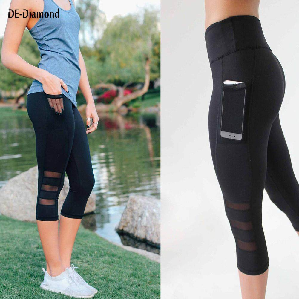 b073f286f5fbf6 DE Sexy Women Yoga Leggings Capri Pants Leggings Sport Fitness Gym High  Waist Mesh 3/